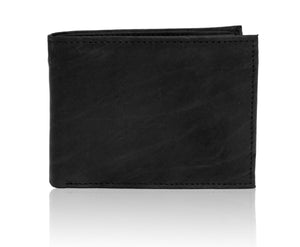 Deluxe RFID-Blocking Premium Soft Genuine Leather Bi-fold - Black