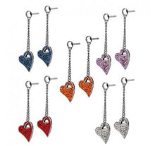 Load image into Gallery viewer, Dangle Heart Cubic Zirconia Earrings