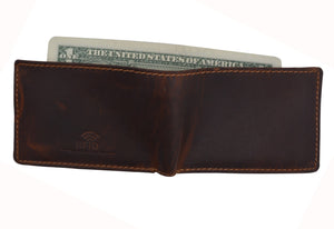 AFONiE Distressed Dark Brown Leather Trifold Wallet