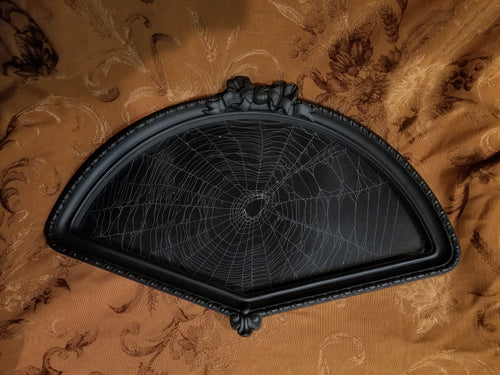 Large Spider Web in Fan Shaped Frame