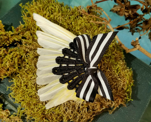 Yellow Taxidermy Bird Wing Hair Clip With Black Lace and Striped Bow