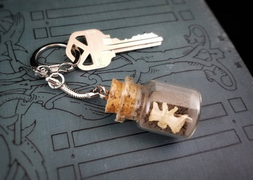 Cemetery Dirt and Bone in Glass Cork Top Bottle Keychain