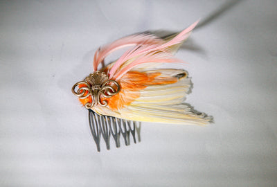 Orange and Yellow Bird Wing Hair Comb