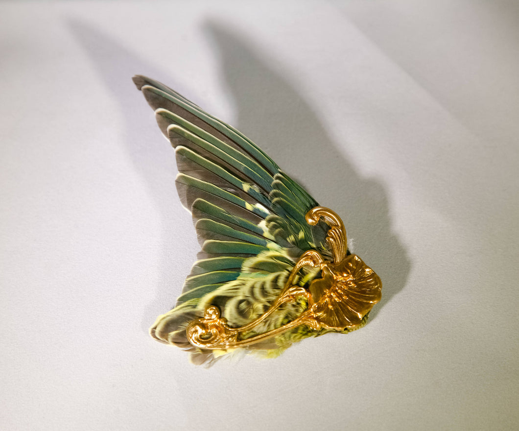 Green and Yellow Wing Hair Clip with Gold Art Nouveau Metalwork