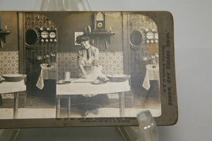 Stereoscope Card of Mr. and Mrs. Latelywed's New French Cook