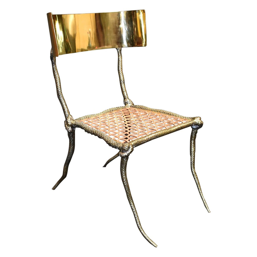 Sculptural Snake Brass Slipper Chair