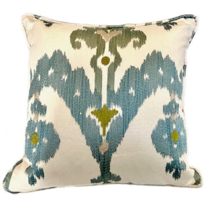 "Cream Blue and Green Ikat Pillow with Insert - 20""x20"""