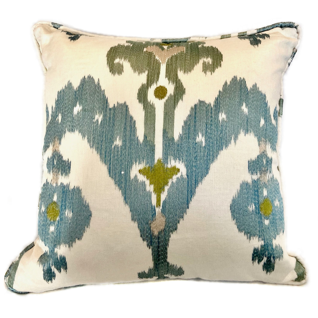 Cream Blue and Green Ikat Pillow with Insert - 20