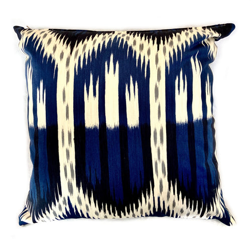 Blue and Black Patterned Pillow with Insert