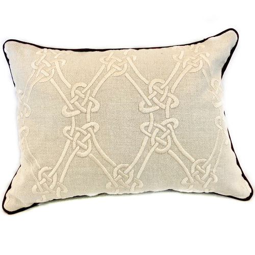 Cream Knot Pillow with Purple Welt and Back