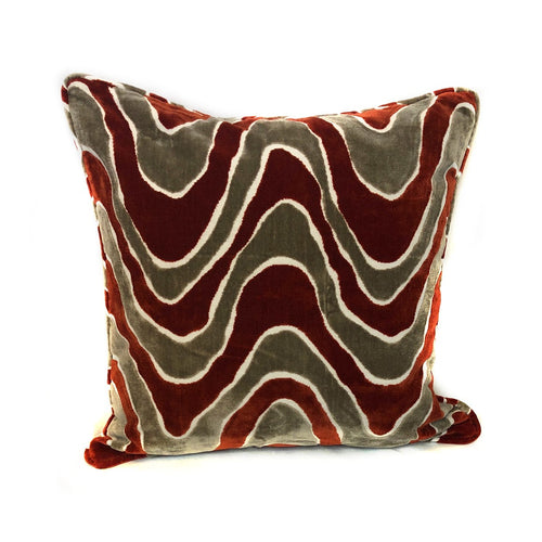 Burgundy and Brown Wave Pillow with Insert
