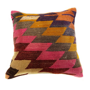 Vintage Kilim Multicolor Geometric Pillow with Insert