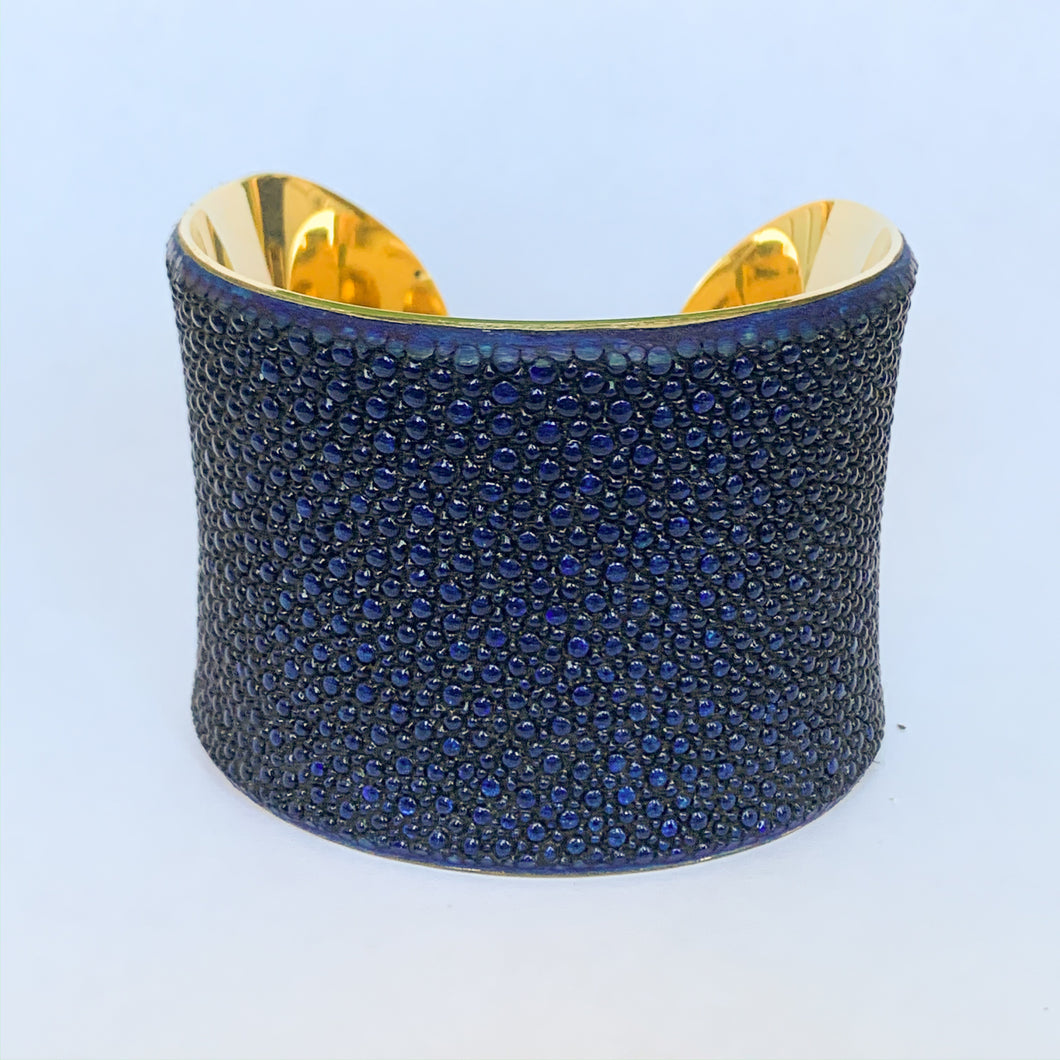 Stingray Leather Gold Cuff Bracelet in Metallic Sapphire Blue