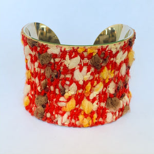 Red Fabric Knit Tweed and Leather Cuff Bracelet