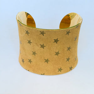Gold Star Embossed Suede Leather Cuff Bracelet