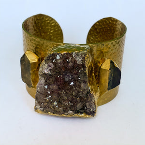 Amethyst and Quartz Gold Plated Cuff Bracelet