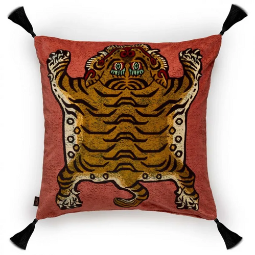 Large Filled Pink Velvet Tiger Pillow - 23.6