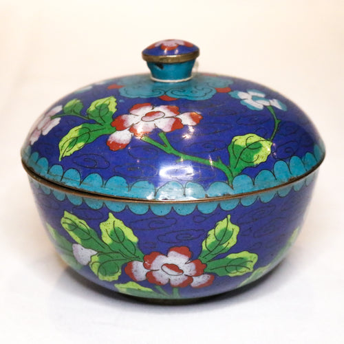 Small Blue Floral Cloisonne Bowl and Lid