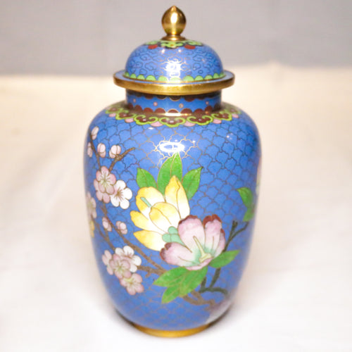 Blue Floral Cloisonne Jar Set