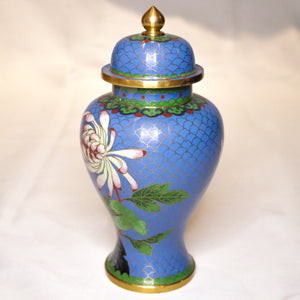 "Blue Floral Cloisonne Hourglass Jar - 8"" Tall"