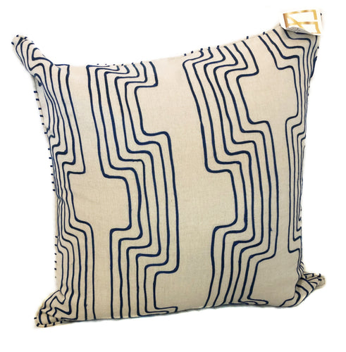 Large Tan with Blue Lines Throw Pillow with Insert
