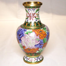 Load image into Gallery viewer, Chinese Cloisonné Vase with Chrysanthemums
