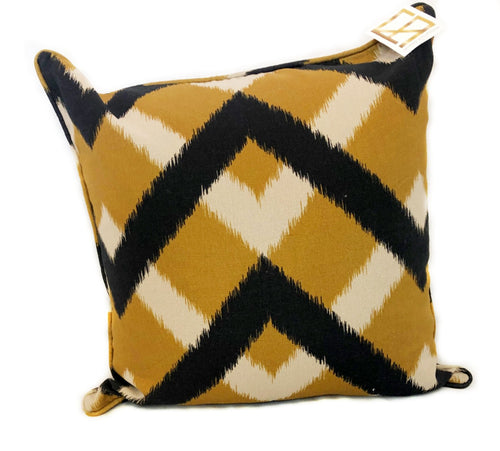 Gold and Black Chevron Pillow with Insert
