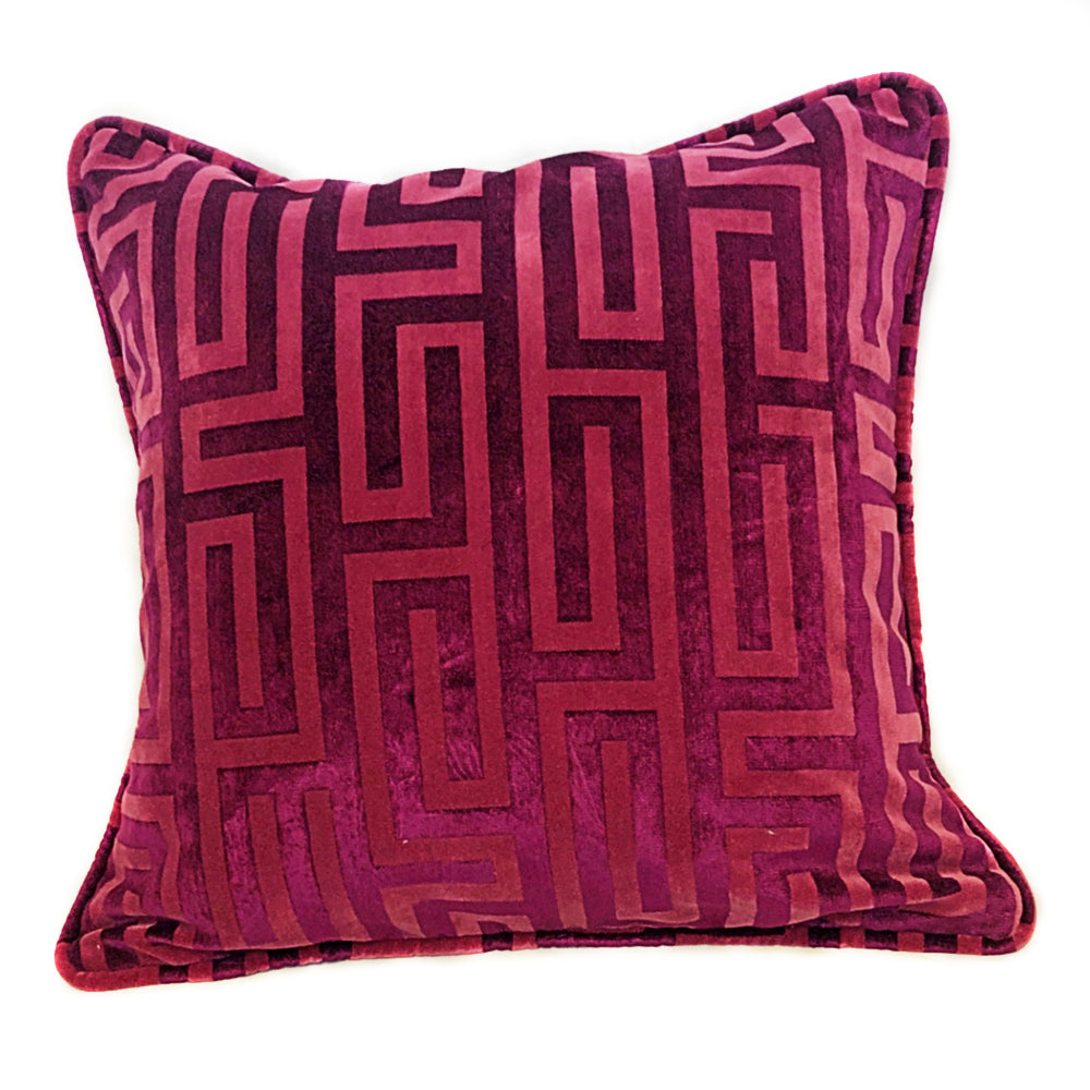 Raspberry Pink Greek Throw Pillow with Insert