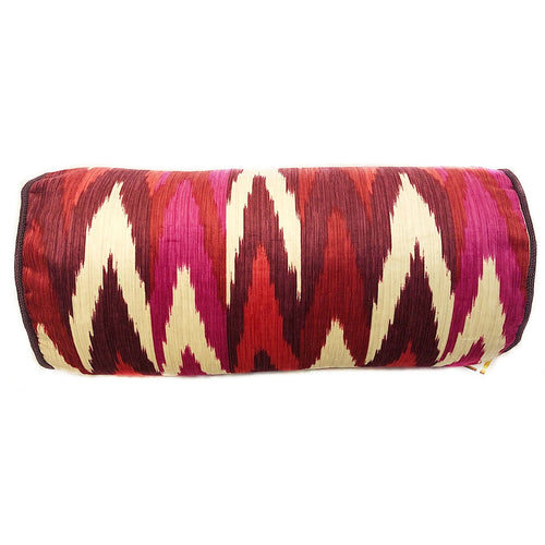 Red and Cream Ikat Bolster Pillow with Insert