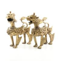 Tibetan Style Cast Brass Plated Lion-Dog Figurines