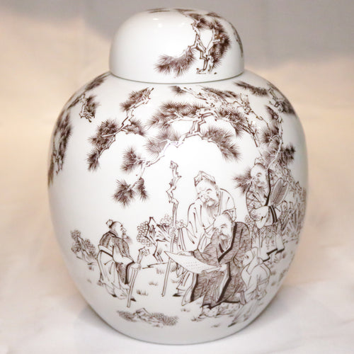 Asian Ceramic Ginger Jar (white)