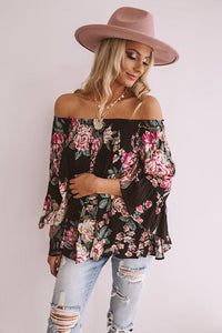 Floral Off The Shoulder Top, Black