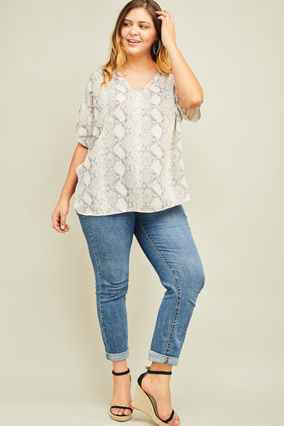Snake Print Shift Top