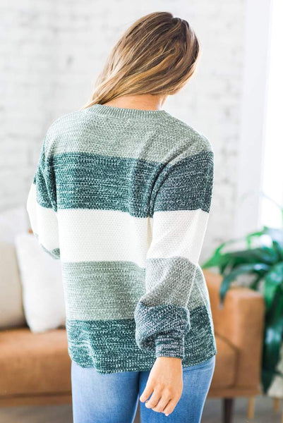 Winter Weekend Colorblock Sweater, Hunter Green