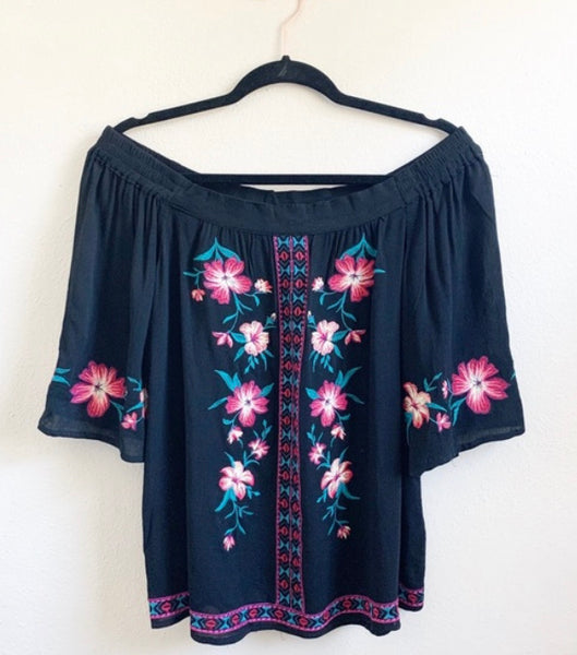 Embroidered Off The Shoulder Top, Black