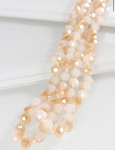 Long Beaded Necklace, Opal Nude
