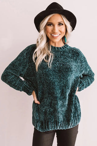 Oversized Chenille Sweater, Hunter Green