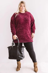Oversized Chenille Sweater, Wine