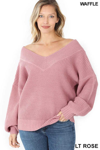 Oversized Waffle Sweater, Light Rose