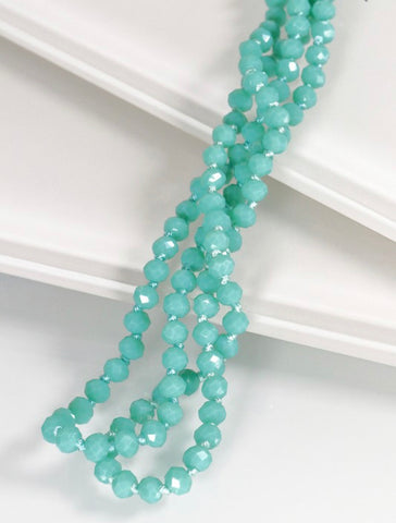 Long Beaded Necklace, Turquoise