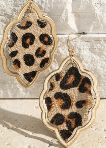 Leopard Earrings, Scalloped Marquis