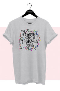 Christmas Lights Tee, Heather Grey