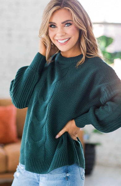 Cable Knit Sweater, Hunter Green