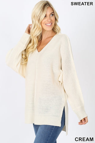 Lightweight High-Low Sweater, Cream