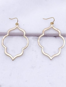 Moroccan Earrings, Matte Gold