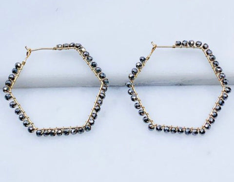 Glass Beaded Hoop Earrings, Metallic Grey