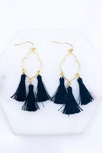 Tassel Earrings, Black
