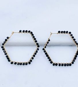 Glass Beaded Hoop Earrings, Black