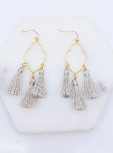 Tassel Earrings, Grey