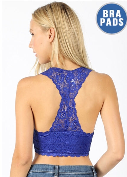 Lace Racerback Bralette, Royal Blue